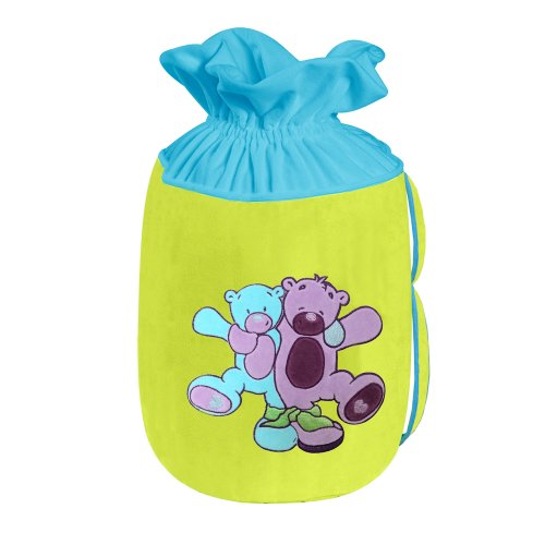 Câlin Câline Lilou 405.32 - Bolsa para guardar juguetes, diseño de ositos abrazándose, color azul, violeta y verde