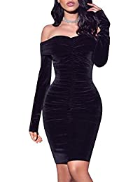 5538f28f38c5 Glamaker Women's Sexy Off Shoulder High Waist Draped Mini Dress with Long  Sleeve