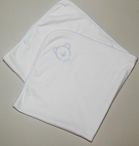 Annie pour bébé 100% coton Pima Bleu ou Rose Picot bord blanc Landau Couverture