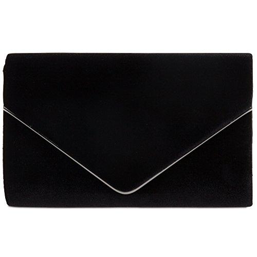 CASPAR TA375 Damen elegante Samt Envelope Clutch Tasche / Abendtasche mit langer Kette, Farbe:schwarz;Größe:One Size