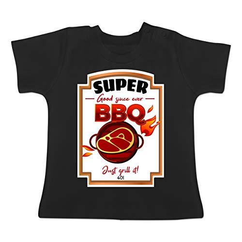 Karneval und Fasching Baby - BBQ Soße Kostüm - 1-3 Monate - Schwarz - BZ02 - Baby T-Shirt Kurzarm