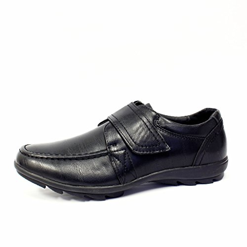 Boys School Shoes Kids Smart Velcro Lace up Dress Formal Wedding Black...