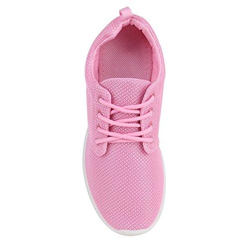 Damen Sportschuhe Übergrößen Trendfarben Runners Sneakers Laufschuhe Fitness Prints Flandell Pink Pink Weiss
