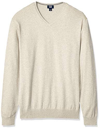 Cutter & Buck Herren Cotton-Rich Classic Lakemont Anti-Pilling V-Neck Sweater Pullover, Oatmeal Heather, Large Hoch -