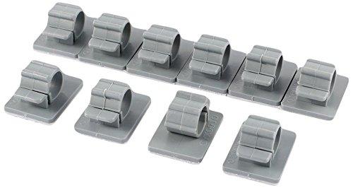 Plastique auto-adhésif Fil Clip de câble Tuyau d'arrosage Colliers de serrage 11 mm 10 pcs Gris