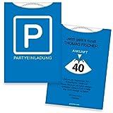 Einladungskarten zum Geburtstag als Parkscheibe | 50 Stück | Inkl. Druck Ihrer persönlichen Texte | Lustige Geburtstagseinladungen | Individuelle Einladungen | Karte Einladung