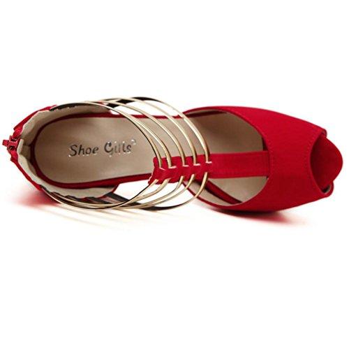 Les Meilleures 4u (md) Sandales En Daim D'été Pour Femme Peep Toe Semelles Synthétiques 14cm High Heels 4cm Chaussures En Métal Avec Plateforme Noire