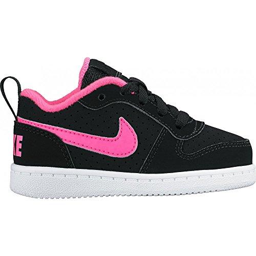 Nike  Court Borough Low (Td), Chaussures mixte bébé Noir (Noir / Rose Explosion)