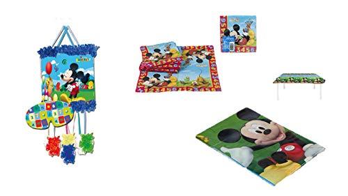 ALMACENESADAN 1126, Party- und Geburtstagsdekorationspaket Mickey Mouse; bestehend aus Piñata, Kunststofftischdecke 120x180 cm und Packung mit 20 Servietten (Mickey Pinata)