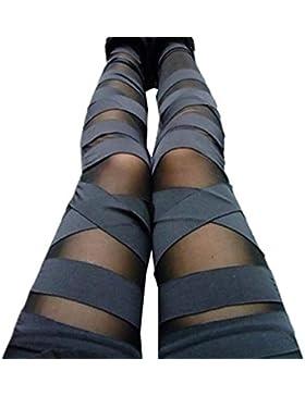 Elegantes Moda Pantalones De Tela Primavera Verano Color Sólido Bandage Gótica Slim Fit Pantalones De Cintura...
