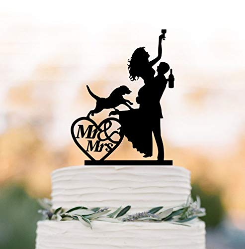 Decorating for wedding cake, drunken bride design, with silhouette of dog, bride and groom, Mr and Mrs in Heart, funny decorative figure for cake