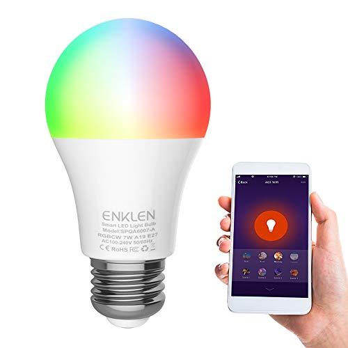 Wifi Smart Birne, ENKLEN E27 Wlan Mehrfarbige LED Dimmbare Glühbirne, Smartphone Fernbedienung & Timerfunktion, weißes und buntes Licht, Lampe Kompatibel mit Alexa, Google Home (1 Stück) -