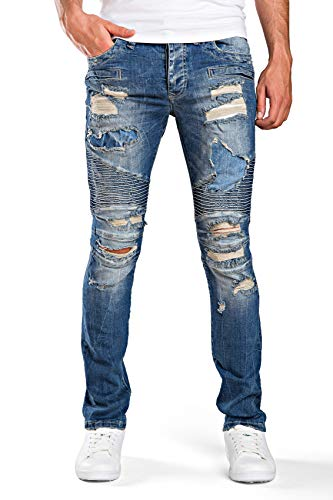 Red Bridge Herren Jeanshose Destroyed Modern Biker Cut Jeans Pant Blau W29 L32