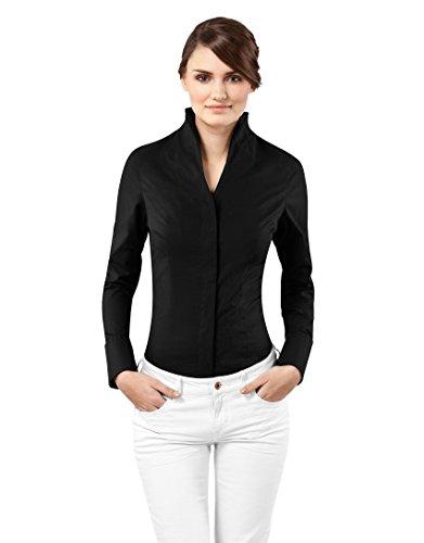 Bluse, modern-fit, Kelchkragen, uni - bügelfrei,38,schwarz