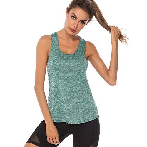 Fliegend Damen Sport Tshirts Tank Top 100% Baumwolle Yoga Fitness Laufen Top Racerback Workout Training Joggen Oberteil Funktion Shirt Casual Basic Vest L -