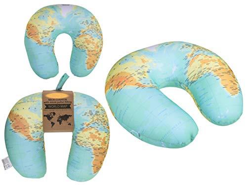 Almohada Cervical, cómoda Almohada de Viaje, diseño del mapamundi, cojín...