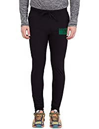 American-Elm Men's Black Slim Fit Printed Trackpant