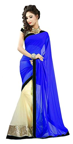 Jhalak Fashion Women's Georgette Saree (Blue & Gold)