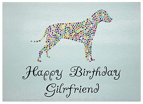 cb9 Schneidebrett für Damen, Motiv Happy Birthday Gilrfriend Happy Dog