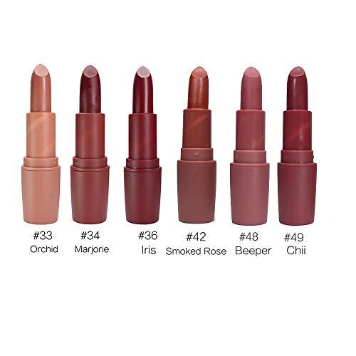OVERMAL Lippenstift, Lipgloss, Matte Liquid Lipstick, Lippe Gloss, 6 Pcs/Satz Langlebig Wasserdicht...