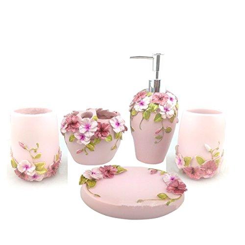 HQdeal Bad-Accessoires-Set, 5-teilig, Blumen-Design Bloom, Badezimmer-Set Seifenspender, Zahnbürstenhalter/Zahnputzbecher, Seifenschale- Rosa