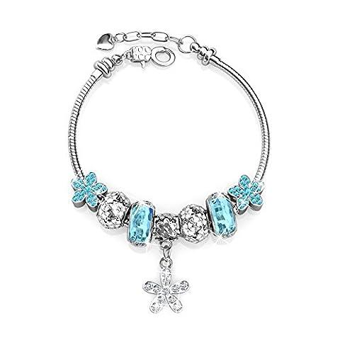 laiton plaqué argent cristal bleu Perles de verre, BE My Fleurs Charms Bracelets
