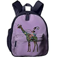 Funny Schoolbag Backpack African Girl with Giraffe Illustration Toddler Kids Pre School Bag Cute 3D Print Children School Backpack
