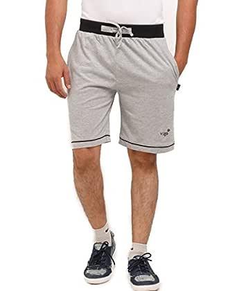 VEGO Mens Cotton Shorts , Trousers , Bermuda(HS-888-GREY-BLACK-34)