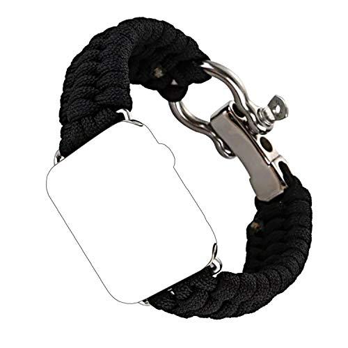 Qianyou Für Apple Watch Armband 42mm, Sport Nylon Seil Paracord ÜberlebenArmband Uhrenarmband mit Edelstahl Schnalle Outdoor Armband Strap für Apple Watch Series 3 2 1 Sport Edition,Schwarz - 1 Nylon-seil 2