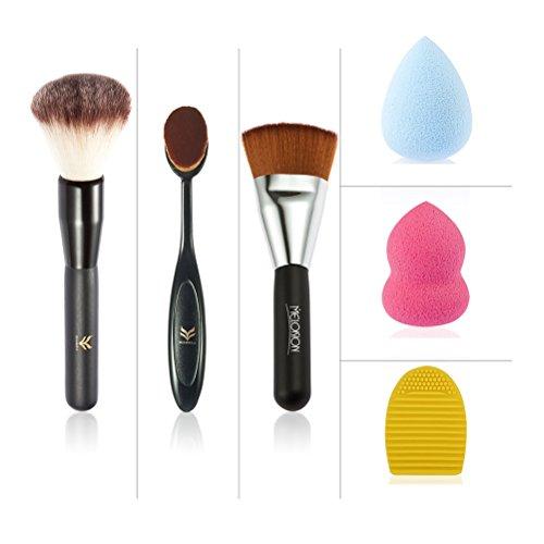 Pixnor kit per il trucco pennello 3pcs + spugne trucco 2pcs + Scrubber (colore casuale)