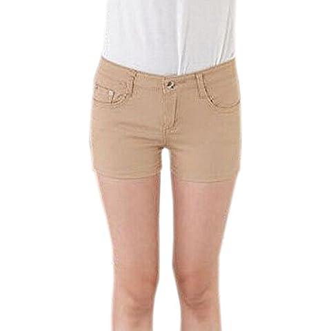 DELEY Mujeres Sólido Estiramiento Hot Pants Juniors flacos Fit Denim Jeans Pantalones Cortos