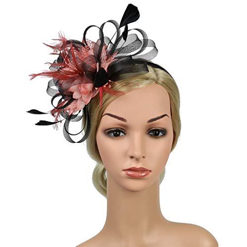 Malloom Vintage Mädchen Stirnband Fascinator Blume Kopfbedeckung Kopfstück Feder Haar Zubehör für Cocktail Party Hochzeit