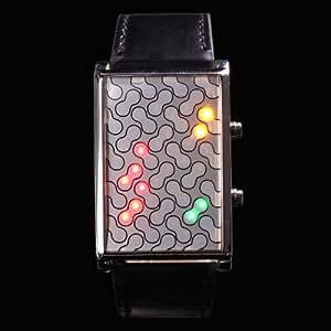Yesurprise Montre Electronique Montre à LED Arachide Rectangle Bracelet en cuir