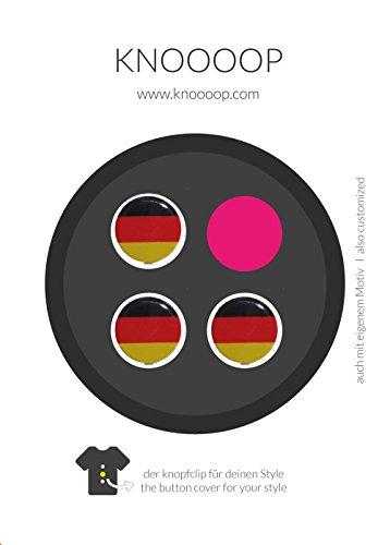 KNOOOOP Knopfclip 3er Set Deutschland - Dein Style für Hemden u. Blusen für Büro/ Freizeit für Fussball, Europameisterschaft, Weltmeisterschaft, Deutschland