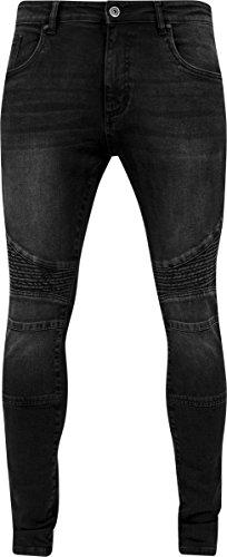 Urban Classics Slim Fit Biker Jeans, Blu Uomo Schwarz (Black washed 709)