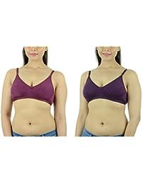 Ishita Fashions Women's Cotton Bra (Purple, Wine) - 2 PCs Combo