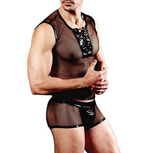 tripper Kostüm Atmungsaktives Mesh Erotik Herren Unterwäsche Set Boxer Rollenspiel Dessous ()