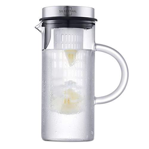 SILBERTHAL Caraffa Vetro con tapo | Caraffa per Acqua refrigerante con Filtro 1L | Brocca per Acqua | Caraffa con Filtro per Frutta e Verdura
