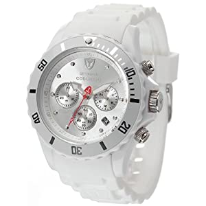 Detomaso DT2019-E – Reloj de cuarzounisex, con Correa de Silicona de Color Blanco, Esfera Plateada