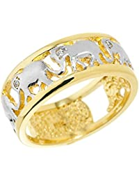 Little Treasures - 10K Solid Yellow Gold Openwork Diamond Elephant Ring