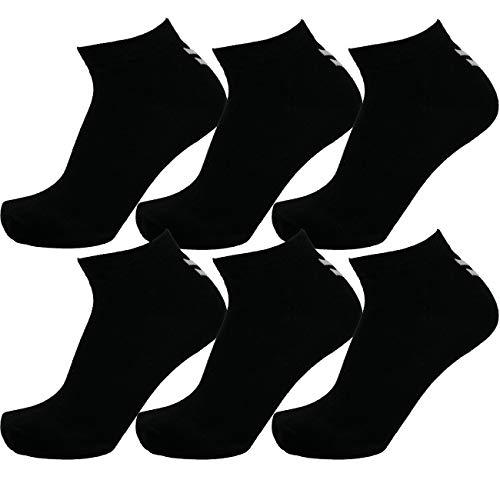 Hummel 6 Paar Sneaker Socken Damen & Herren Größen 36-48 Sport & Freizeit (schwarz (2001), 41-45 (12)) -