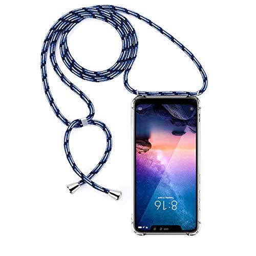 GoodcAcy Funda con Cuerda para Xiaomi Redmi Note 6 Pro Pantalla en Cristal Templado-Carcasa Transparente de TPU-con Cordon para Llevar en el Cuello