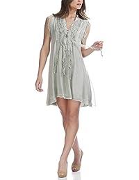 Laura Moretti - Vestido de seda de verano corto con volantes en la parte superior