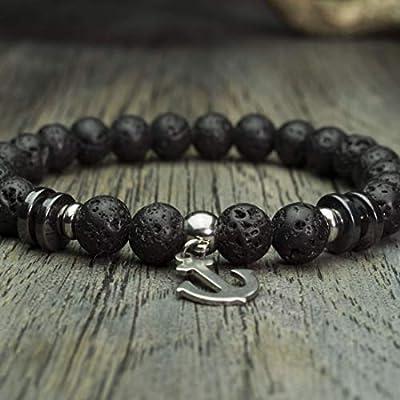 Bracelet homme Taille 18cm perles Ø 8mm pierre gemme Lave Volcanique (Vesuvianite) Hématite breloque pendentif ancre marine Acier inoxydable FaitMain Made in France BRADIN18