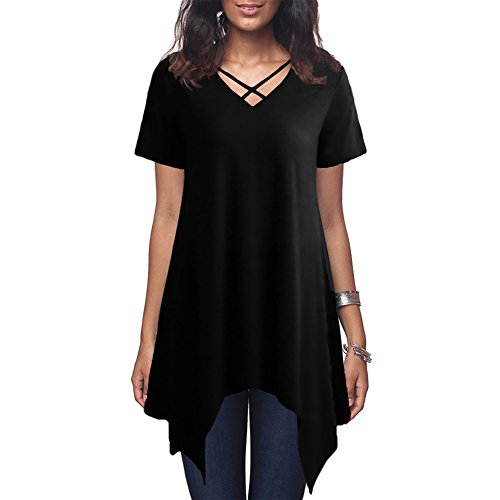 Anself T-Shirt Kleid Damen Criss Cross V Neck Kurzarm Bluse Asymmetrisches Loose Casual Tunika Top (Bluse V-neck Tunika)