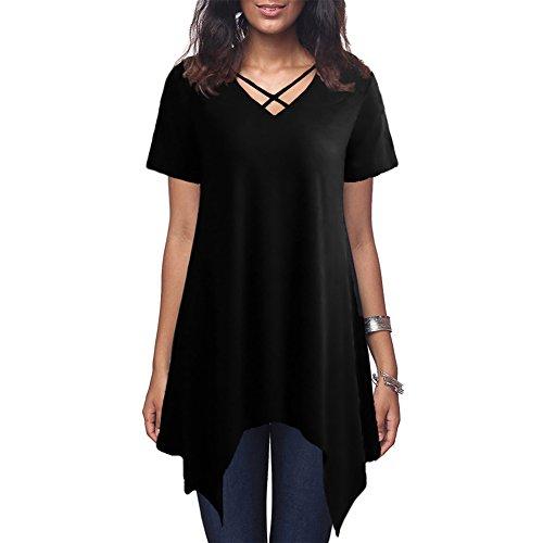 Anself T-Shirt Kleid Damen Criss Cross V Neck Kurzarm Bluse Asymmetrisches Loose Casual Tunika Top (Tunika Bluse V-neck)