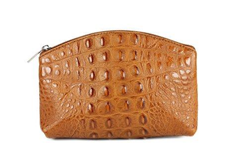 """BELLI """"Bellini"""" kleine Leder Kosmetiktasche Make Up Tasche - Alle Farben zur Auswahl - 18x13x5 cm (B x H x T) Cognac kroko"""