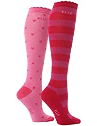 Elle - Chaussettes -  Fille Rose Pink  Stripes & Hearts