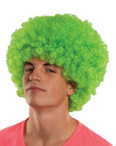 Classic Afro Wig Party Costumes Fancy Dress Accessories Funny- Green by - Mardi Love Kostüm
