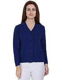 TAB91 Women's Blue V Neck Designer Sweater